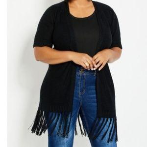 Fringed Open Knit Cardigan